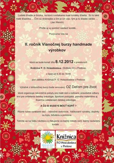 Vianočná burza v Prešove 8.12.2012