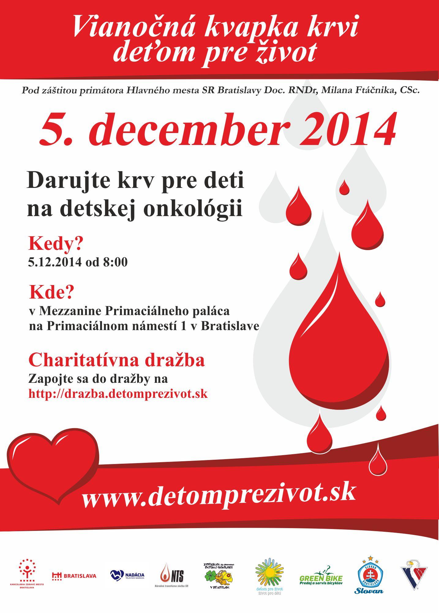 Vianočná kvapka krvi v Bratislave a Prešove
