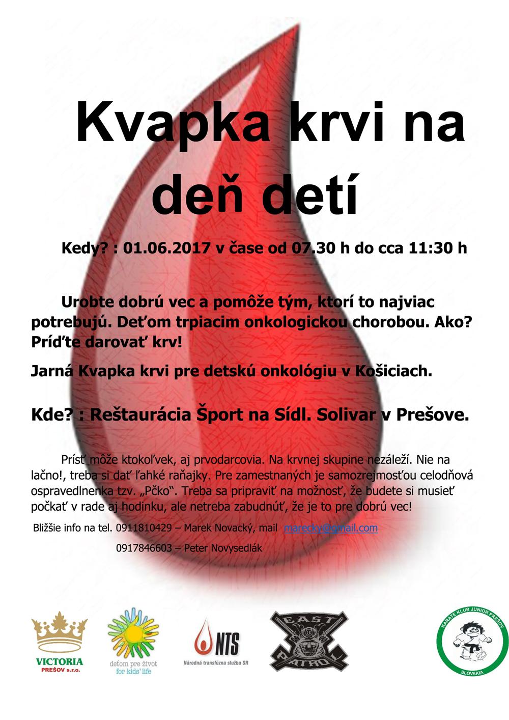 Darovanie krvi na deň deti 1.6.2017